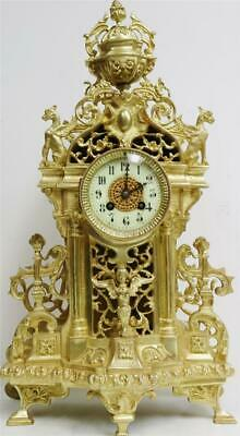 Stunning Antique Large French 8 Day Bell Striking Pierced Bronze Mantle Clock