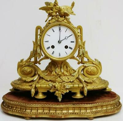 Beautiful Antique French 8 Day 2 Tone Bronze Fire Gilt Ormolu Mantle Clock