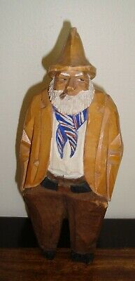 "1957 Hand Carved 9-3/8"" High  OLD MAN WITH HANDS IN POCKET & BEARD Wood Carving"