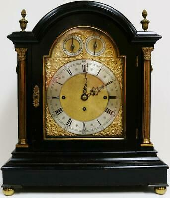 Antique English Ebonised Triple Fusee 8 Bell & 5 Gong Musical Bracket Clock