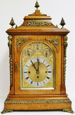 Rare Antique Oak & Ormolu Triple Fusee Musical 8 Bell Directors Bracket Clock