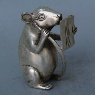 China Collectable Handwork Decor Miao Silver Carve Mice Read Book Noble Statues