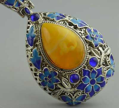 Handwork Collectable Ancient Miao Silver Carve Flower Inlay Agate Noble Pendant