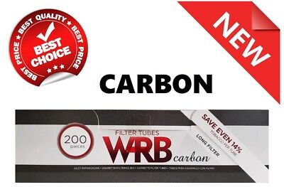 200 x EMPTY CIGARETTE CARBON FILTER TUBES WRB MAKE YOUR OWN, LONG FILTER