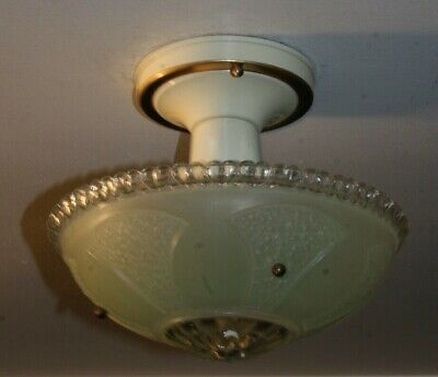 Antique jadeite green glass Art Deco semi flush ceiling light fixture