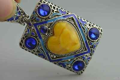 Handwork Collectable Chinese Old Miao Silver Inlay Agate Auspicious Rare Pendant