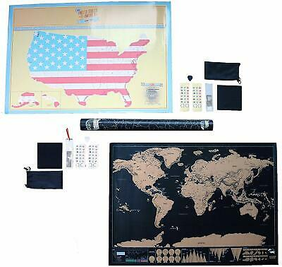 Scratch off Map World + US Deluxe Edition Personalized Scratchable World Maps
