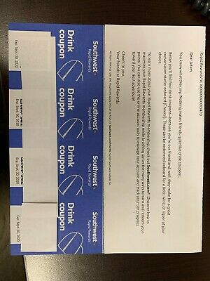 Four (4) Southwest Drink Coupons Expire 9/30/2020
