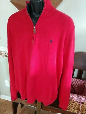 Polo Ralph Lauren Sweater 1/2 Zip Turtleneck Men's Xl Cotton Red Solid Polo Pony