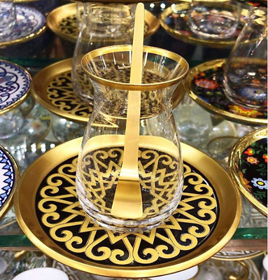 Ottoman Gold Silver Brass Tea Saucers Cups Set - HIGHEST QUALITY 5 Variations