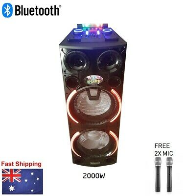 "2000W Portable Rechargeable Bluetooth PA Speaker DJ 15"" Subwoofer LED"