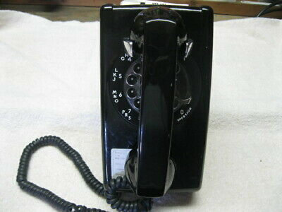 Vintage WESTERN ELECTRIC  BLACK Rotary Dial Wall Mount Telephone  Phone