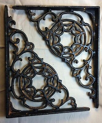 SET OF 2 SPIDERWEB CAST IRON SHELF BRACE BRACKETS rustic black finish