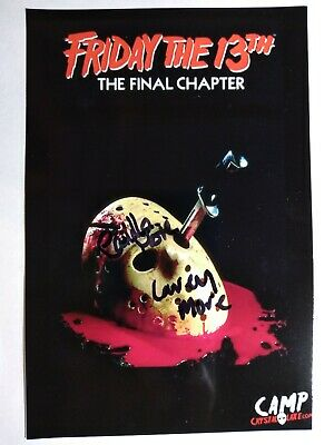CAMILLA & CAREY MORE Hand Signed 4X6 Photo - FRIDAY THE 13TH FINAL CHAPTER -RARE