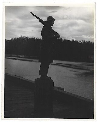 WW2 Soldier Standing Guard In Italy Army Photo WWII Military Photograph