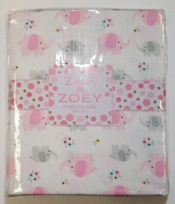 Zak & Zoey Pink Elephant Toddler Bed or Crib Sheets 2-Pack (100% Cotton)