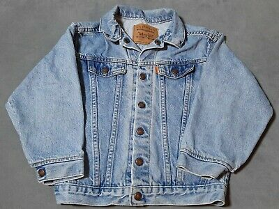 1980s Vintage Little Levis Orange Tab Light Acid Wash Denim Jean Jacket Kids 7X