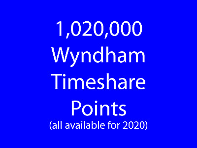Wyndham Timeshare Points 1,020,000 (all points available for 2020)