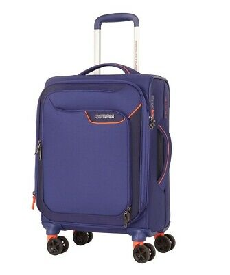 American Tourister NEW Applite 4.0 55cm Small 4 Wheel Soft Suitcase Blue