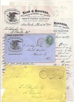 1877 Letter ~ NYC to S TRENTON NY ~ Farm Machines, HAY RAKE ~ Fancy Cancel 'SON'
