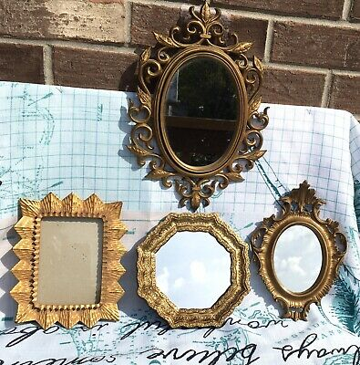 4 Vintage Gold Ornate Resin Plaster Wall Mirrors & Frame Lot Hollywood Regency
