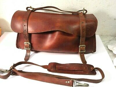 Vintage Used Klein Tools 5108-18 Delux Leather Bag, 18-Inch with Shoulder Strap