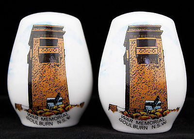 Vintage Salt Pepper Shaker Set Australiana Souvenir Goulburn War Memorial Retro