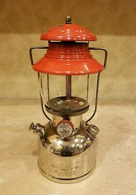 Vintage 1950 USA Coleman Red nickel/chrome 200 Single mantel camp Lantern 11/50