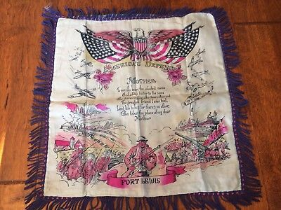 Vintage Souvenir of Fort Lewis Silk Pillow Cover Case 16 x17 Army WWII To Mother