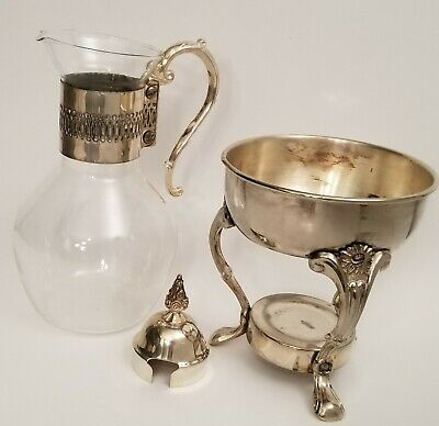 Vintage Corning Glass Tea Coffee Carafe & Raimond Silverplate Warming Stand