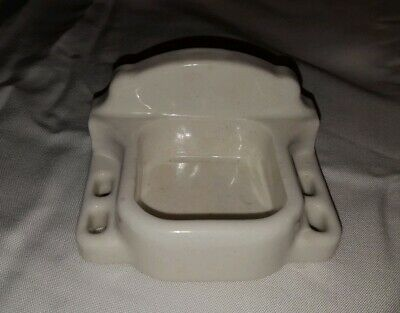 Vtg White Ceramic Tile Bathroom Toothbrush Holder w/Cup Holder Wall Mount USA