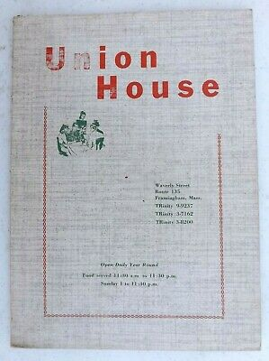 VINTAGE 1950-60s UNION HOUSE RESTAURANT MENU WAVERLY ST. FRAMINGHAM, MA liquor