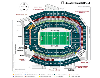 Philadelphia Eagles vs. Dallas Cowboys Tickets Section 203 Row 14 Two 2 Tickets