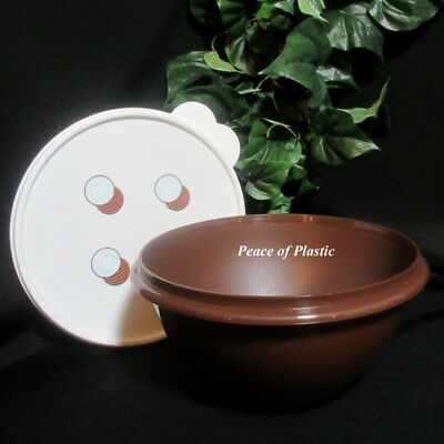 Tupperware New  Brown 8 3/4 Cup Wonderlier Bowl with White Coconut Seal