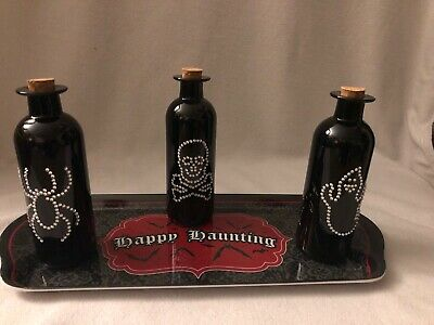 Set Of 3 Glass Potion Poison Bottle Halloween Decor With Tray