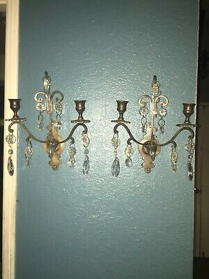 Pair of bronze and crystal candle wall scones