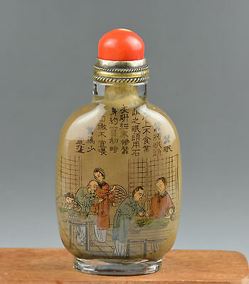 1875 chinese inside hand painted peking glass snuff bottle old antique red coral