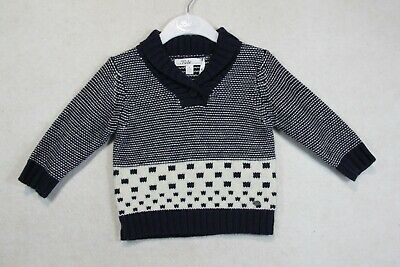 Baby Boy Size 00,0,1,2 Bebe Winter Navy Stripe Knit Jumper NWT