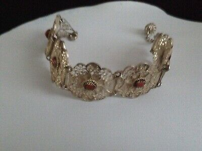An Antique Victorian Solid Silver Coral Bracelet In Filigree Style