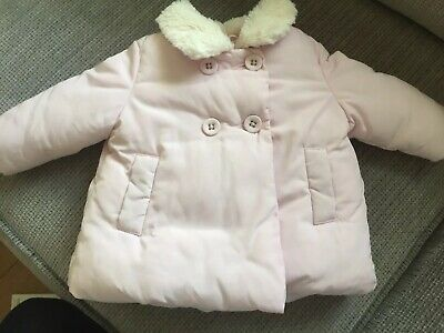 Next Baby Girls Pink Padded Fur Lined Collared Coat Jacket Age: 3-6 Months