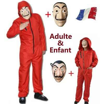 La casa De Papel Cosplay Costume Mask Enfant/Adulte Salvador Dali Money Heist FR