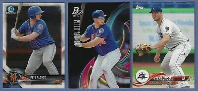 Lot of 3 Pete/Peter Alonso Rookie Cards 2018 Topps Debut, Bowman Platinum Mets
