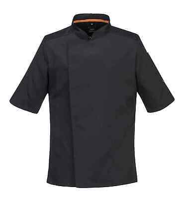Portwest C738 MeshAir Pro Men Chef Jacket Short Sleeve Polycotton Areated Black