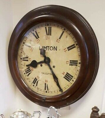 Large LIMTON Calcutta Antique Wall Clock Teak? Cased c1900 8 Day Nice Condition