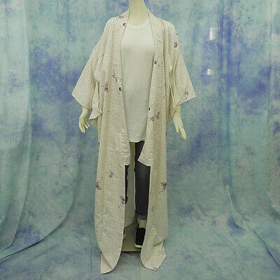(76)Beautiful Japanese kimono made in Japan made of polyester 161cm 63.3inch