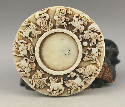 Old Chinese natural jade hand-carved zodiac inkstone