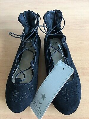 Pair Of F&F Girls Black Suede Look Shoes Size 11. New With Tags