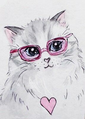ACEO Original painting Lovely gray cat in pink glasses Watercolor Art Miniature