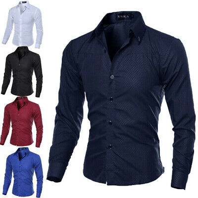 UK New Mens Casual Formal Shirts Slim Fit Shirt Top Long Sleeve M L XL XXL New