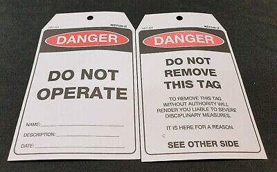 100 Pack of MaxSafe UDT101 Danger Do Not Operate Safety Lockout Tag Caution